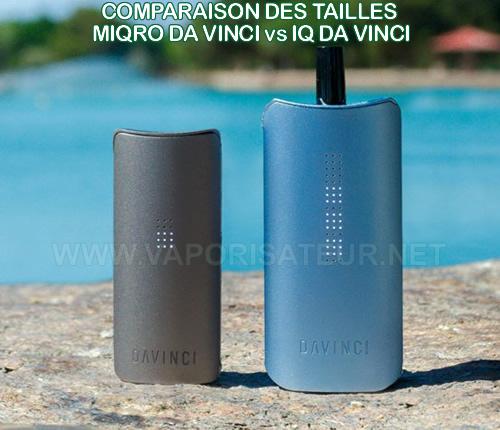 Comparaison entre le vaporisateur portable MIQRO Da Vinci et IQ Da Vinci - différence du gabarit présentée côte à côte