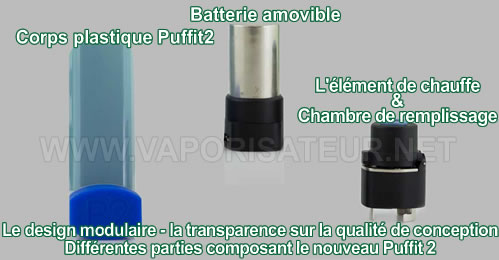 Différentes parties qui composent le vaporisateur Puffit 2