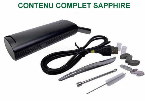 Contenu complet du vaporisateur Sapphire Storm - tous les accessoires présents dans le pack