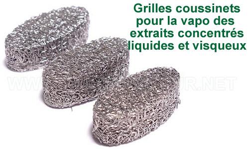 Grilles coussinets pour la vaporisation des extraits liquides concentrés végétaux pour vapo Spirit