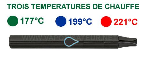 Trois températures de chauffe du vaporisateur Vapir Pen