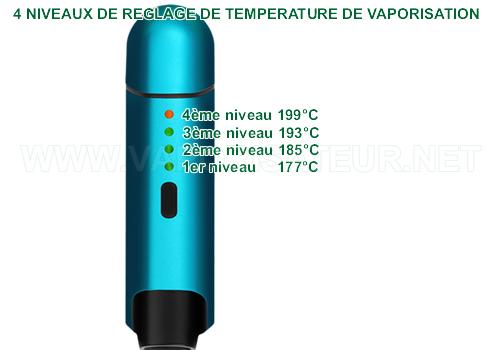 4 niveaux de configuration de température de la vaporisation