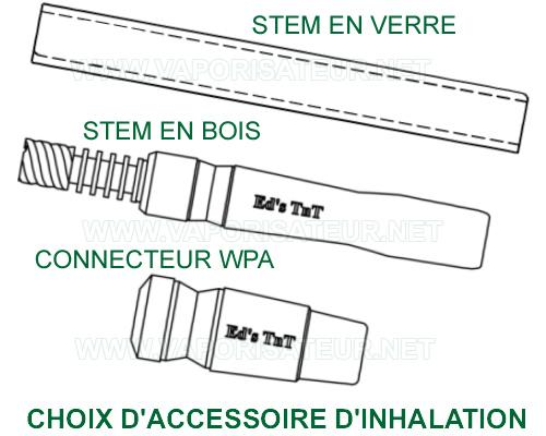 Différents accessoires d'inhalation et vaporisation pour WoodScents - stem en verre, stem en bois et WPA en bois
