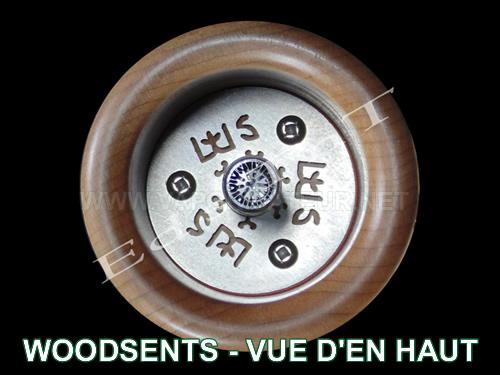 La vue d'en haut du vaporisateur WoodScents AromaLog - inserts d'entrée d'air en forme de logo WS