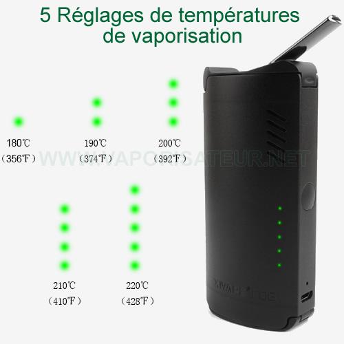 Présentation de 5 niveaux de réglage de température présents chez le vaporizer Fog XVAPE